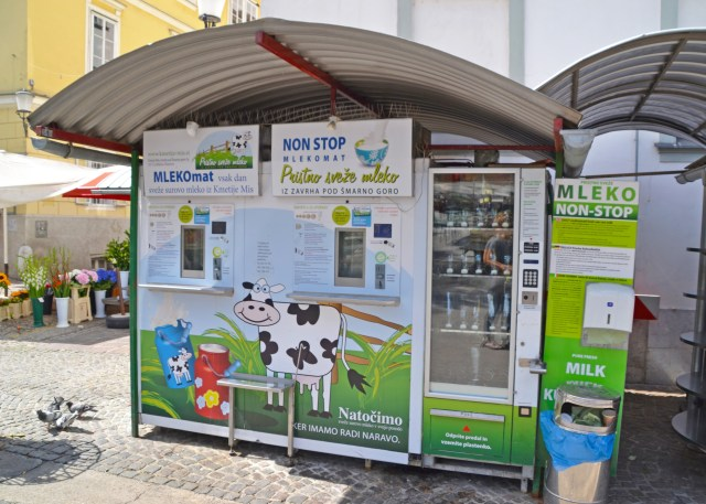 Mlekomat or The Milk Machine in Ljublijana. by @travelingintandem