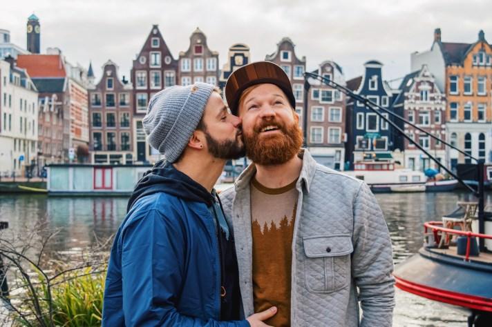 Couple of Men in romantic Amsterdam.