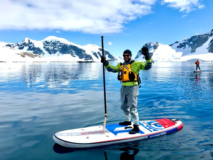 Robert Sharp of Out Adventures does Stand up paddling in Antarctica