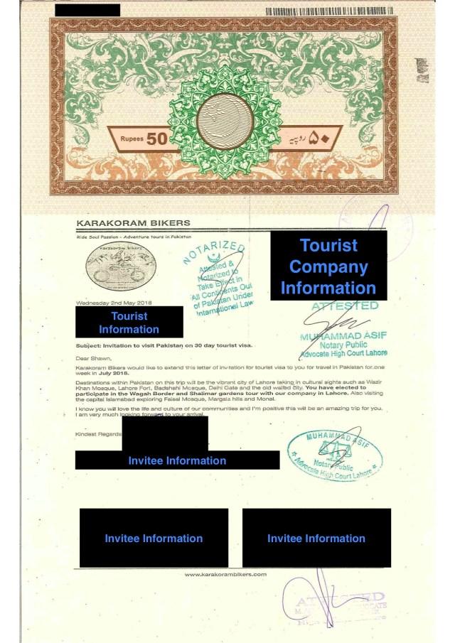 Pakistani Letter of Invitation
