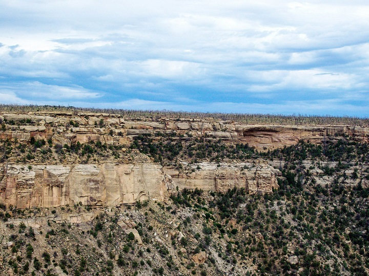 A view looking out from the mountain housings of Mesa Verde.