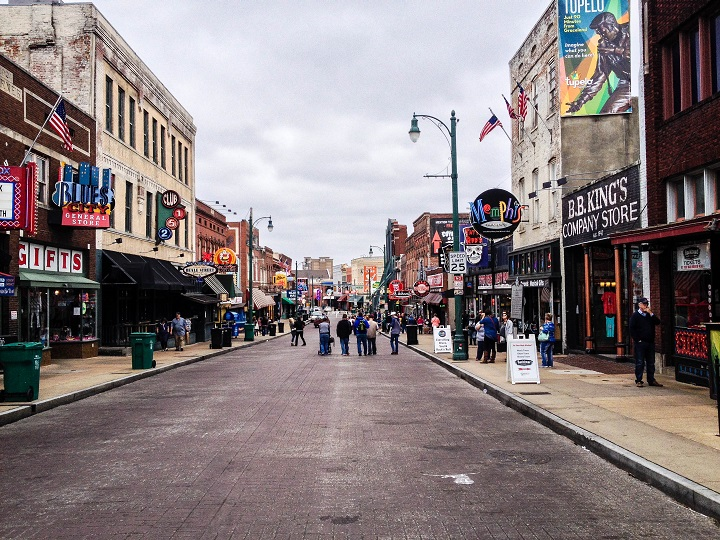 Beale Street during the day in Memphis