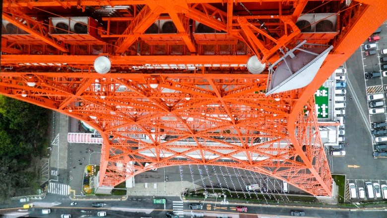 Looking through the glass floor of the Tokyo Tower.