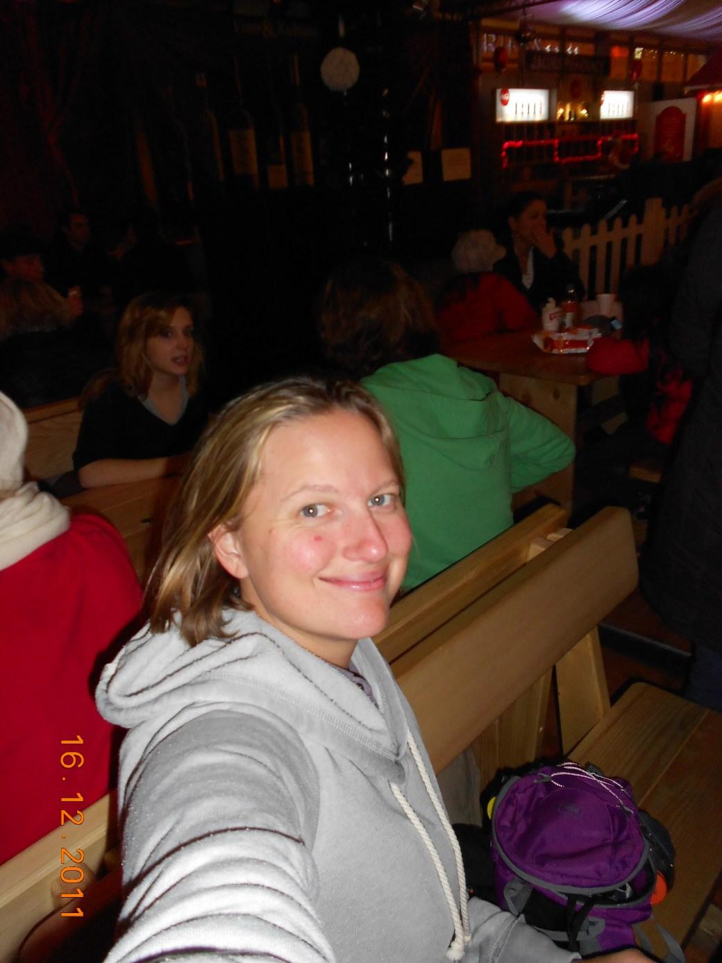 Selfie in Christmas Tent; Zagreb, Croatia; 2011