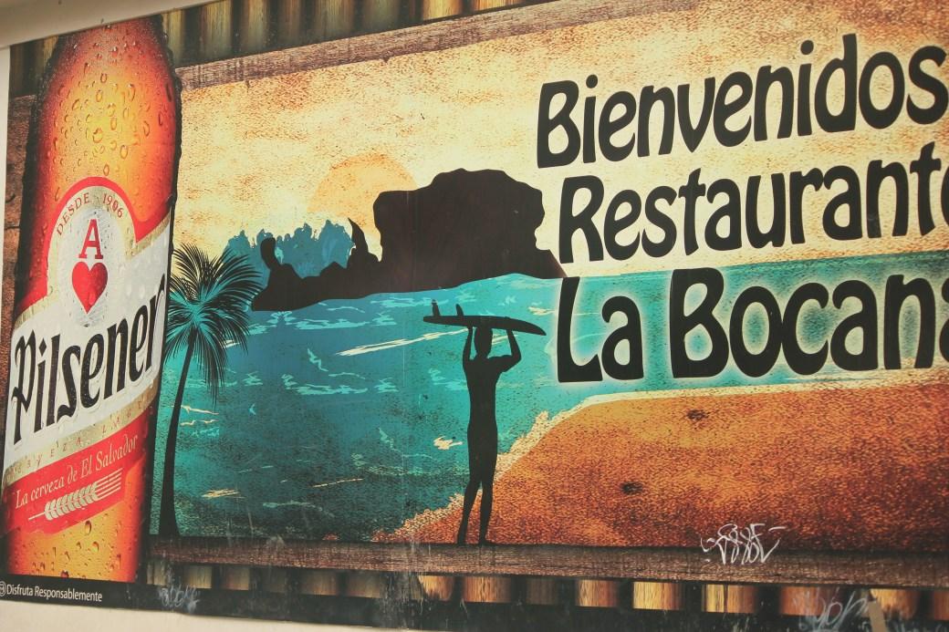 Beer Sign with Surfer; El Tunco, El Salvador; 2013