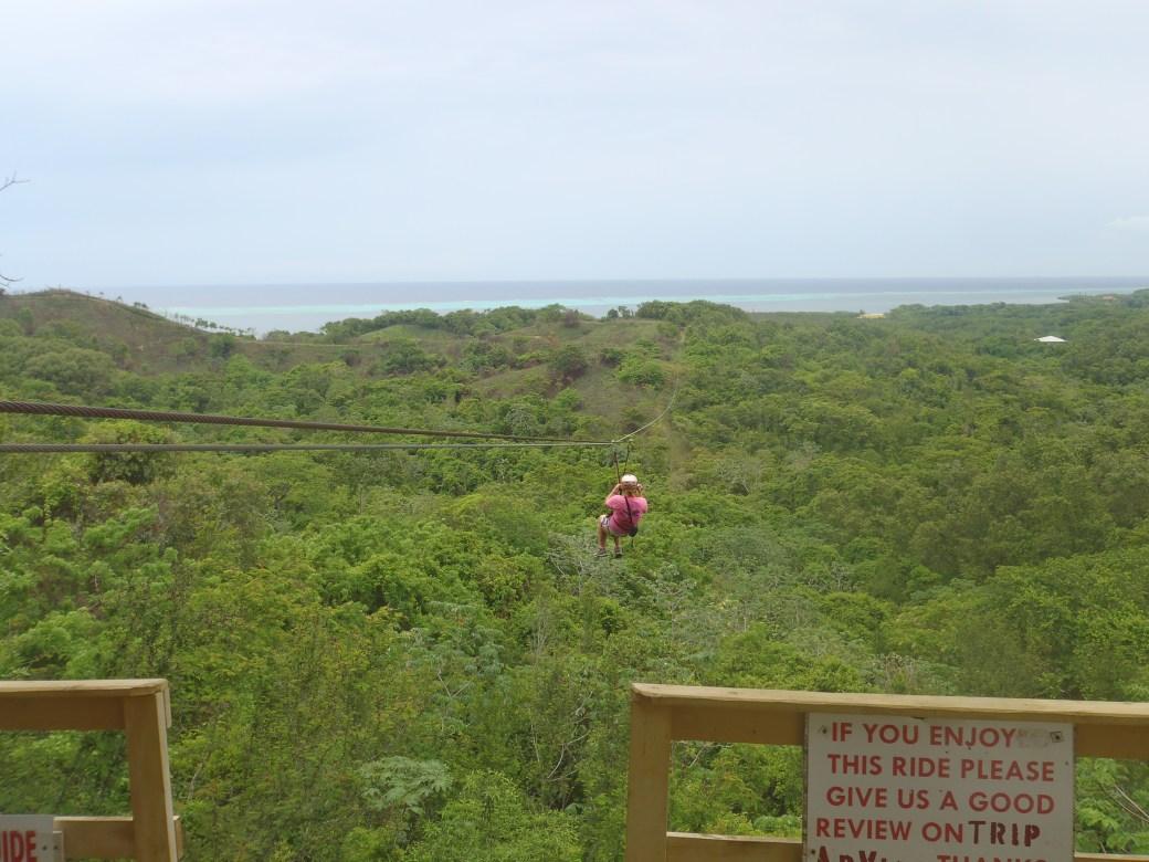 Zip Lining One of Central America's Longest Zip Lines; Roatan, Honduras; 2013
