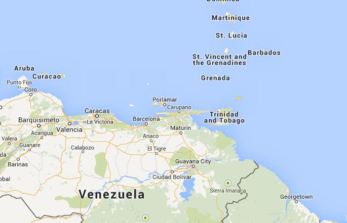 Location of Trinidad & Tobago in North America