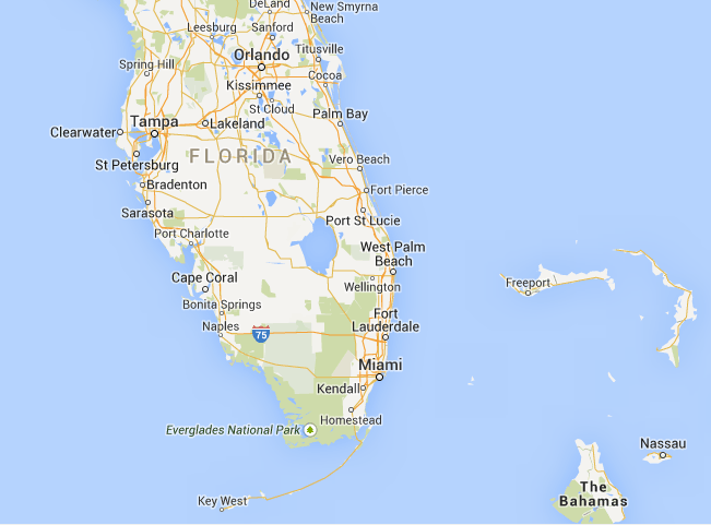 Location of Key West in Florida