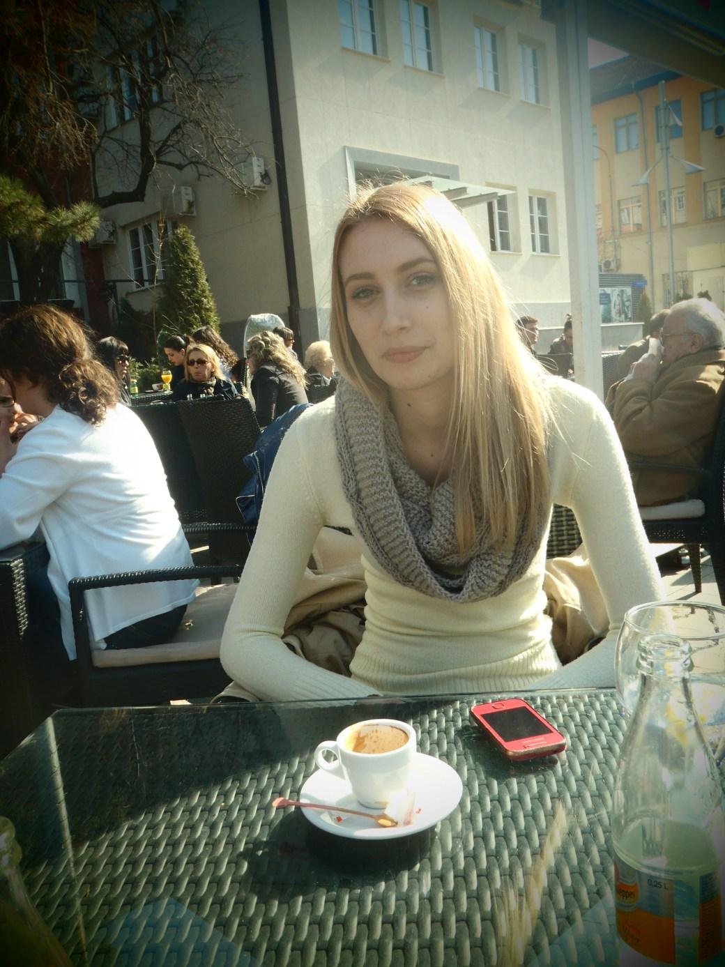 Elona at Cafe; Pristina, Kosovo; 2013
