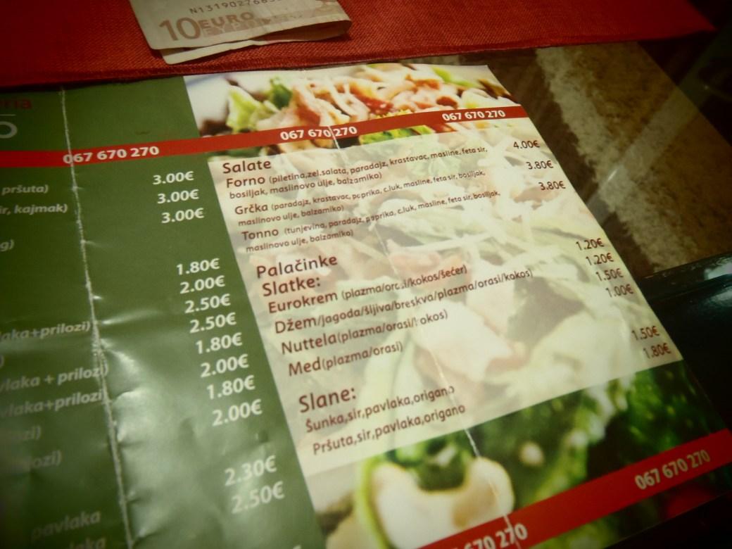 Pizza Menu; Podgorica, Montenegro; 2013