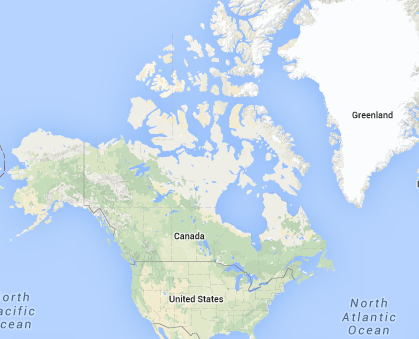 Location of Canada in North America