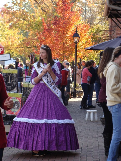 Fall foliage queen attendant old fashioned apple butter kettle