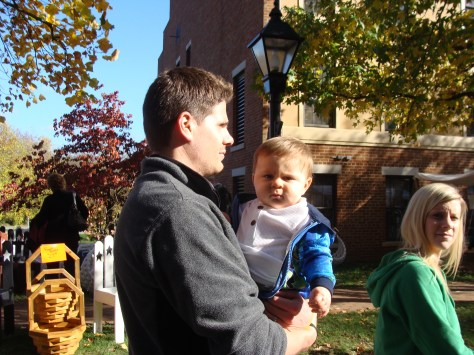 cute baby couple Roscoe Village old fashioned apple butter festival
