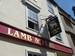 British pub Oxford Lamb and Flag writing