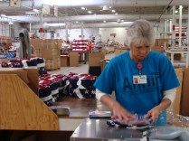 how American flags are made factory process sewing machines workers