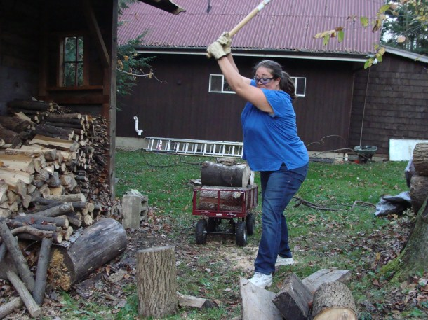 splitting oak wood chopping maul Traveling Marla