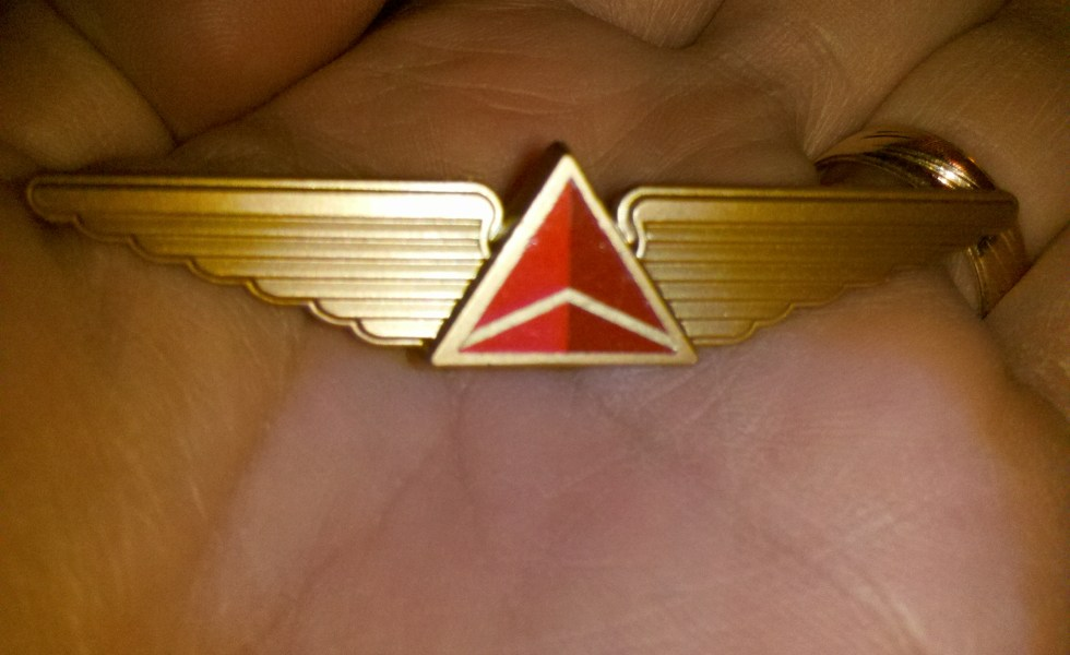 TWA wings pin playing cards flight perks