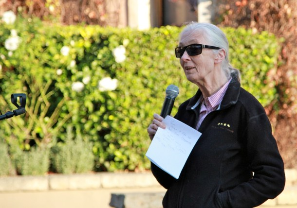 Dr. Jane Goodall speaking at Montecasino Bird Gardens near Johannesberg. (c) 2013 Mary Vanhooser