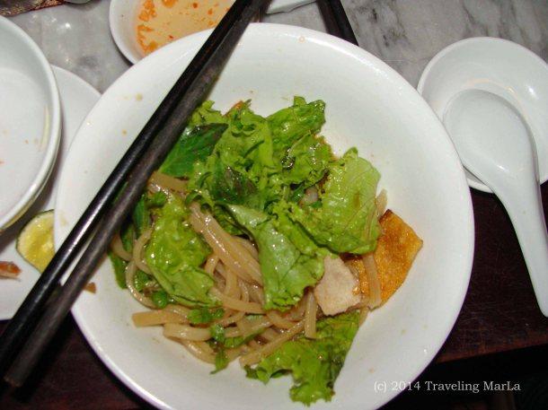 Cao Lau noodles from Hoi An, Vietnam.