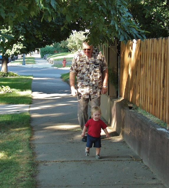 Dad and Anders walk
