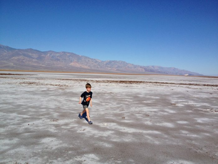 Running across the salt flats at the bottom of Death Valley.