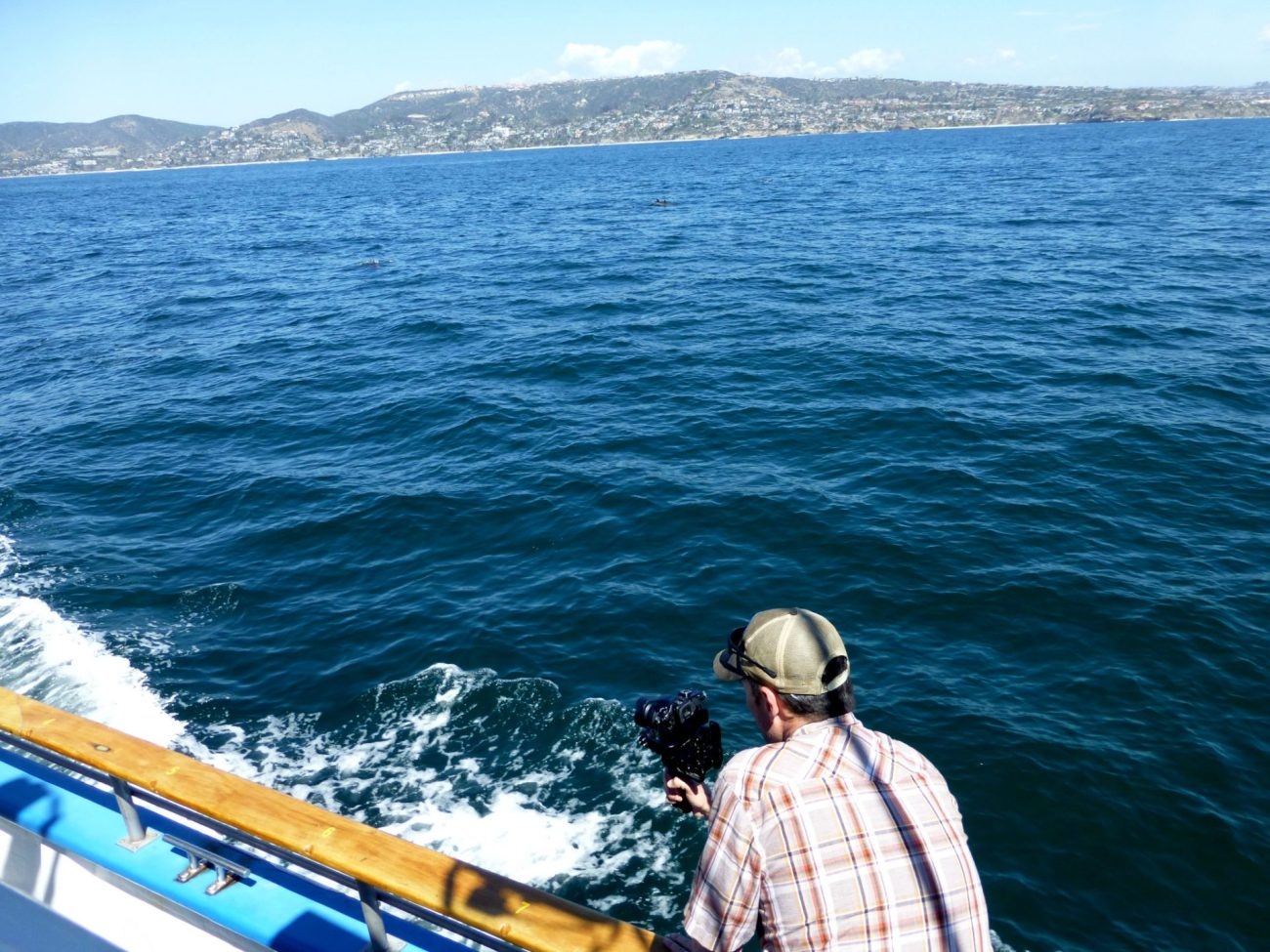 Filming while whale watching for gray whales in the Pacific Ocean.