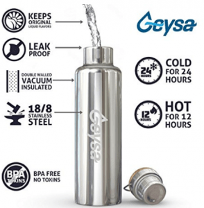 Geysa Vacuum Insulated Stainless Steel Water Bottle best presents for travelers