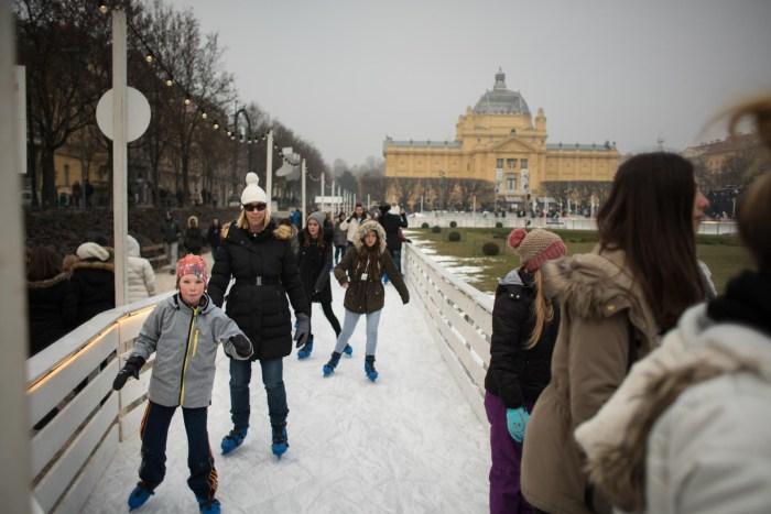 Ice Park on King Tomislav Square at Avent in Zagreb