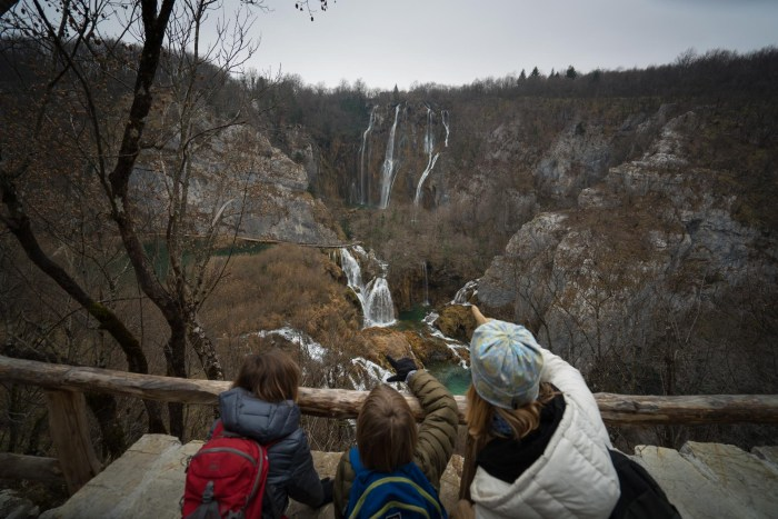 View of Plitvice Lakes and the big waterfall