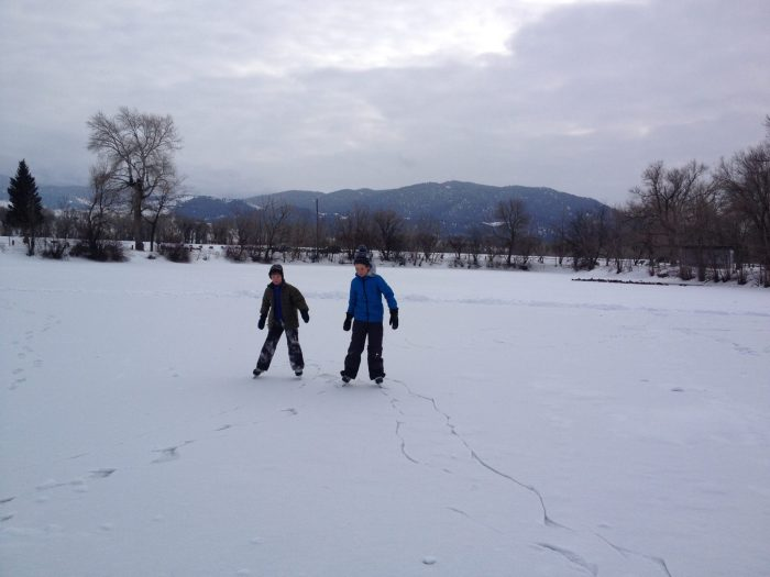 wild ice, ice skating on the Lagoon in Livingston Montana