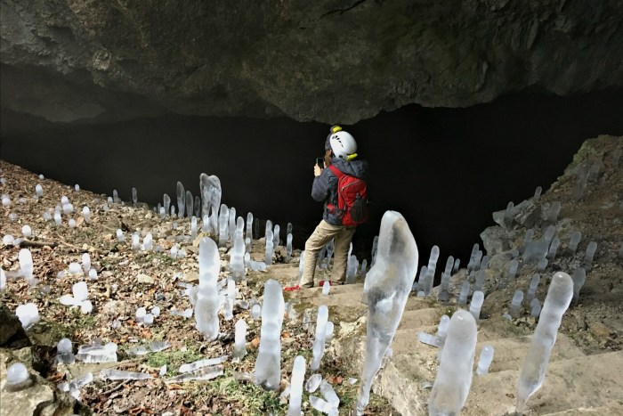Ice stalagmites, icicle stalagmites, black cave solvenia