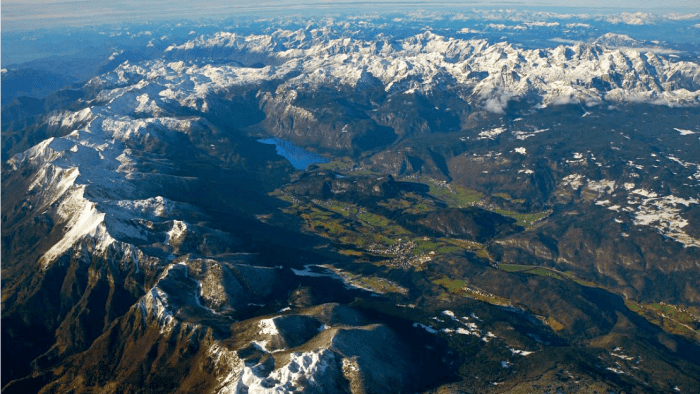 Lake Bohinj is surrounded by the Julian Alps