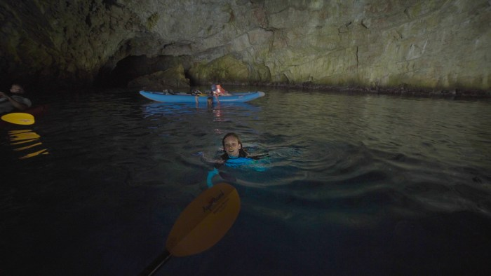 swimming in the blue cave