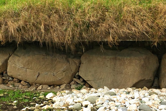 Megalithic rock art on the kerbstones at Knowth.