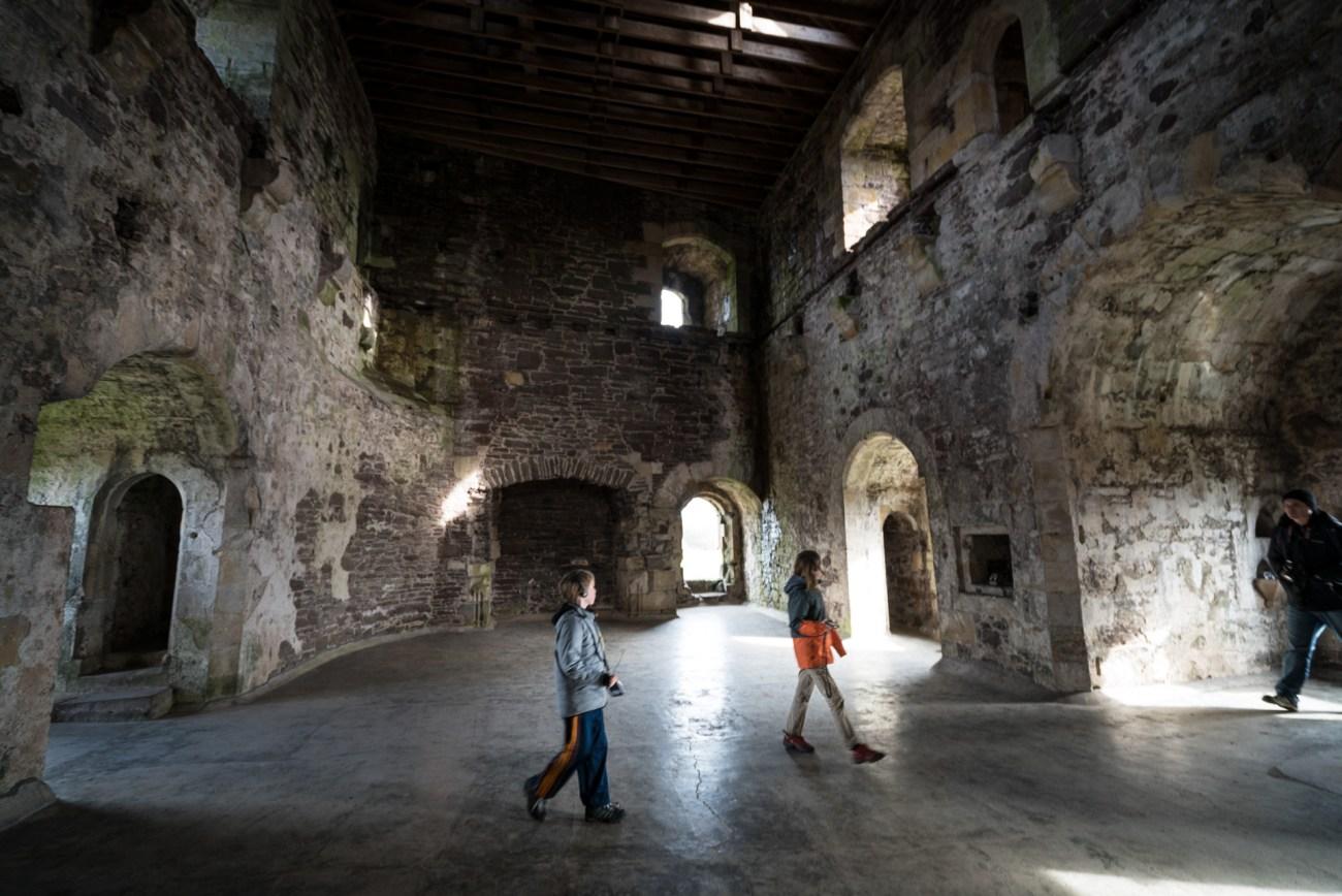 Interior of Doune Castle in Scotland