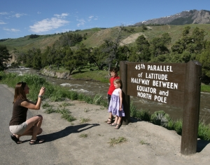 45th Parallel Sign in Yellowstone