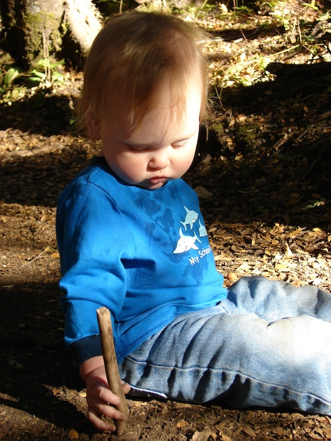 Anders plays with a stick on a rest break