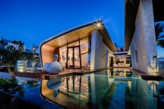 classy turquoise pool floor, Modern sleek exterior. Simply Stunning!