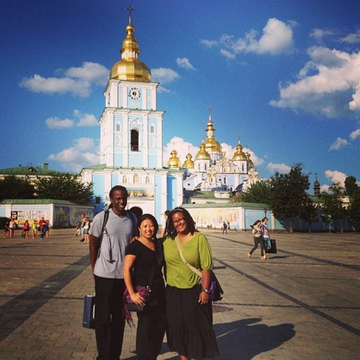 Byron L. Williams, Friend Chiraphone Khampovoung, and wife, Denise Williams in Kiev, Ukraine
