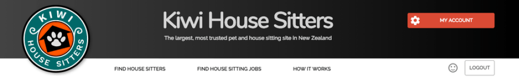 Kiwi House Sitters Top Menu as an example to search for house sitting jobs or house sitters