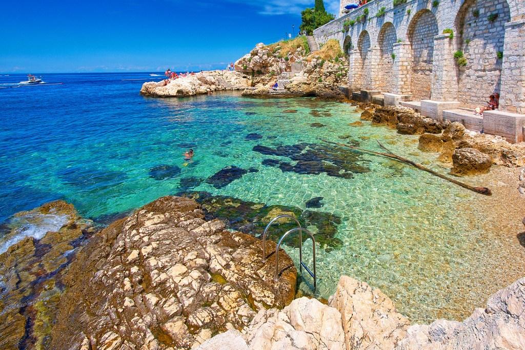 Croatia,Rovinj. Beautiful blue bay