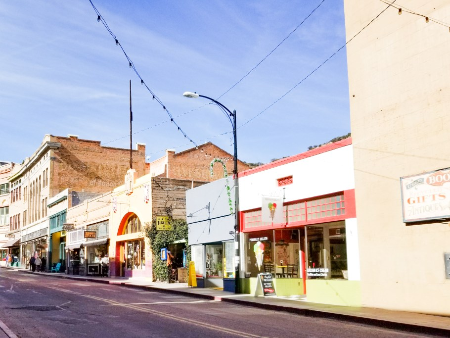 Main street of Bisbee, one of the best small towns in Arizona