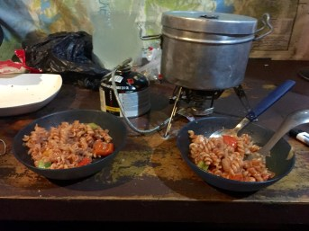 Dinner on Night #1 (Pasta & Red Sauce with Peppers, Onion & Zucchini) (Note Stove & Pot in Background)