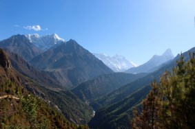 Mount Everest Peaking Out Behind Mountains (Day 3 of Hike)
