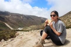 Eating PBJ Enroute to Dingboche (Day 5)