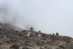 Foggy Memorial Enroute to Pheriche (Day 9)