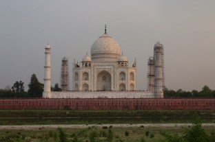 Back View of the Taj Mahal from Garden Across the River at Sunset