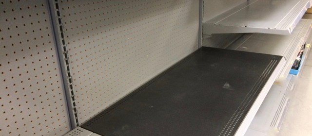 Empty shelves depicting economic collapse
