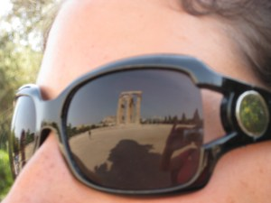 looking a ruins through sunglasses