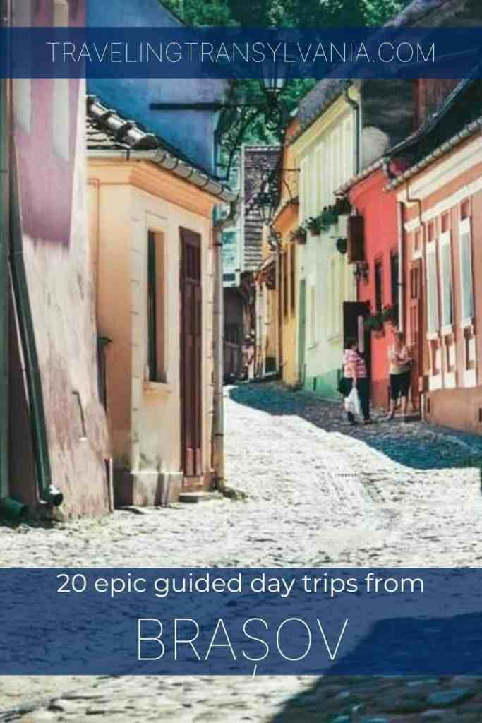 Pinterest graphic - Day Trips from Brasov showing Old Town of Sighisoara